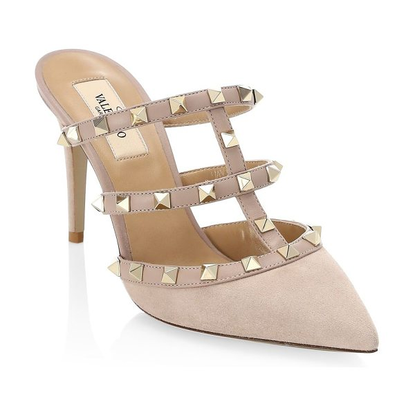 Valentino rockstud mules in poudre - Heeled lambskin leather mules elevated with signature...