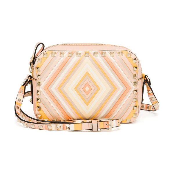 Valentino Rockstud multicolor chevron leather camera bag in mandarinsorbet-multi - Classic Valentino design with multicolor chevron...