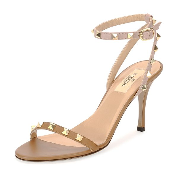 Valentino Red  rockstud naked leather sandal in nocciola/poudre