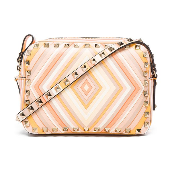Valentino Rockstud 1975 crossbody bag in orange,stripes,geometric print - Printed leather with leather lining and pale gold-tone...