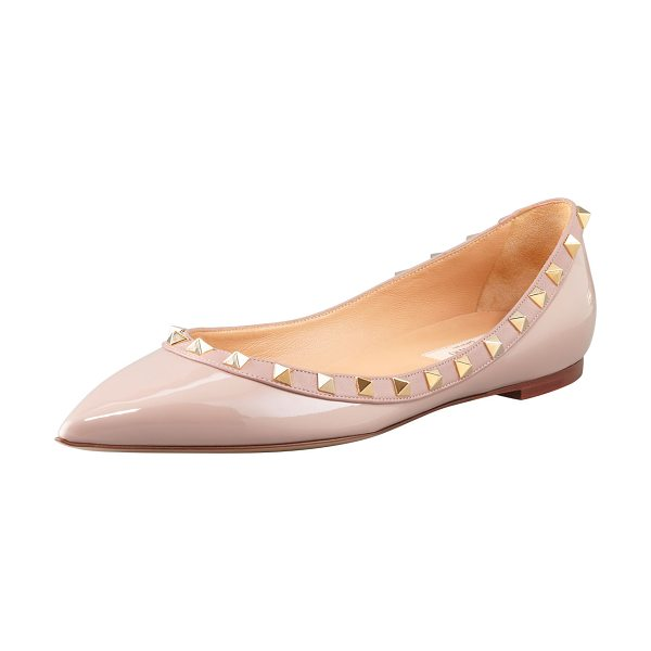 Valentino Rockstud Patent Ballet Flats in nude