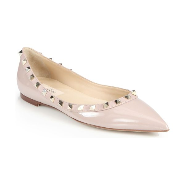 Valentino rockstud patent leather ballet flats in blush - Signature metal studs transform this patent leather...