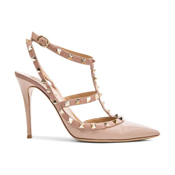 Valentino Rockstud Patent Leather Slingbacks T.100 in poudre - Patent leather upper with leather sole. Made in Italy....