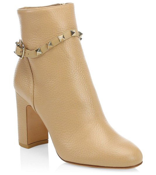 Valentino rockstud leather ankle boots in camel