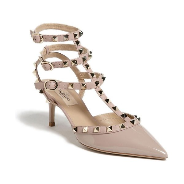 Valentino rockstud pointy toe pump in poudre patent - Signature rockstuds glint on the caged triple straps of...