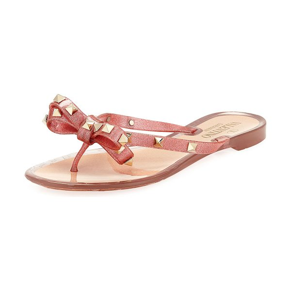 Valentino Rockstud PVC Flat Thong Sandals in pink