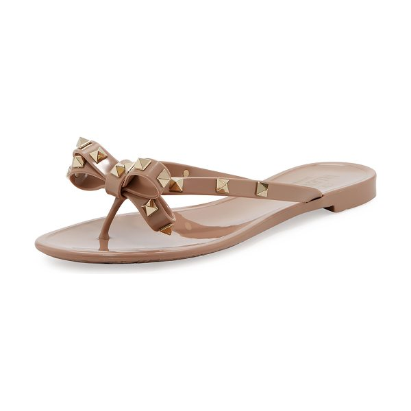 Valentino Rockstud PVC Thong Sandal in metallic brown - Valentino jelly PVC sandal with signature brass...