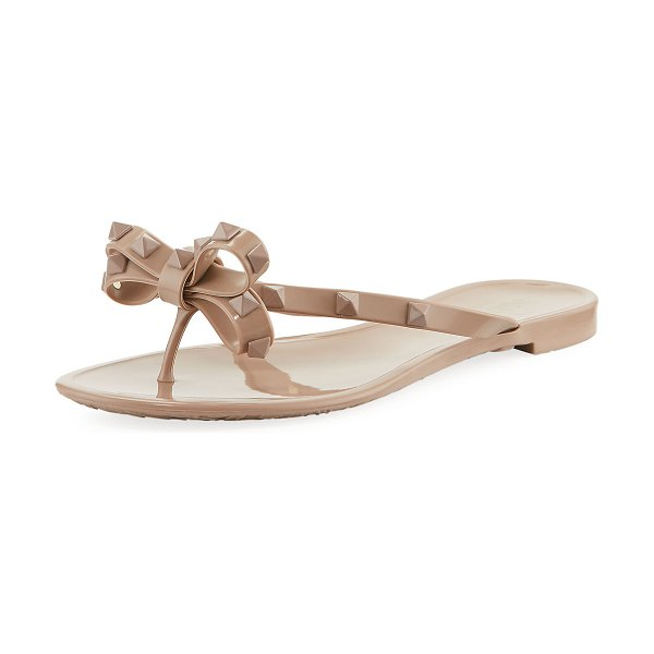Valentino Rockstud PVC Jelly Thong Sandal in poudre