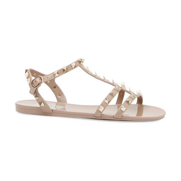 Valentino rockstud pvc sandals in poudre - Polished studs add glamour to easy jelly sandals. PVC...