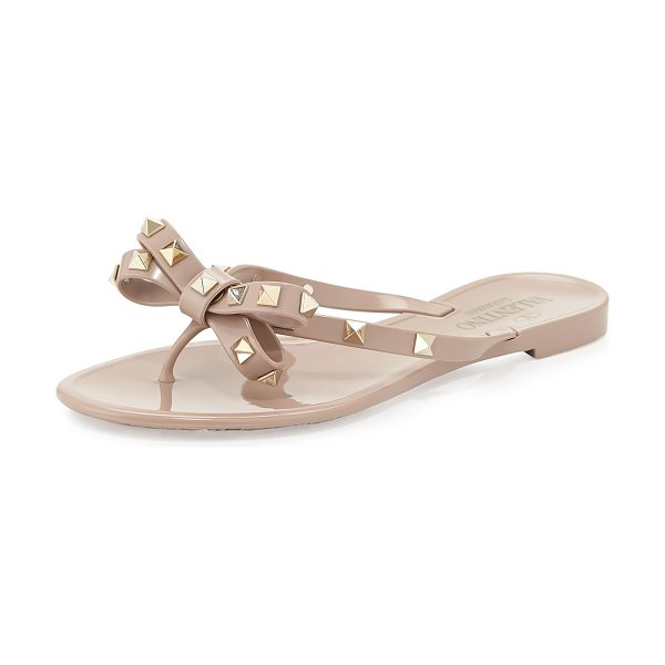 Valentino Rockstud PVC Thong Sandal in poudre - Valentino Garavani PVC flip-flop with signature pyramid...