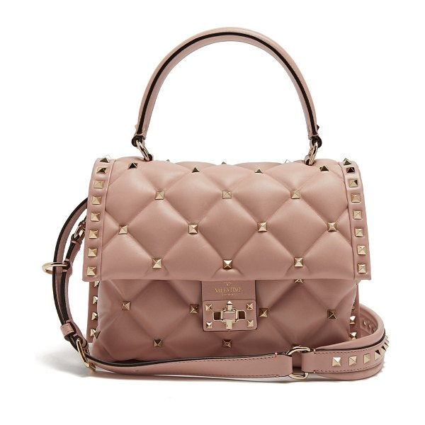 Valentino candystud quilted leather shoulder bag in light pink