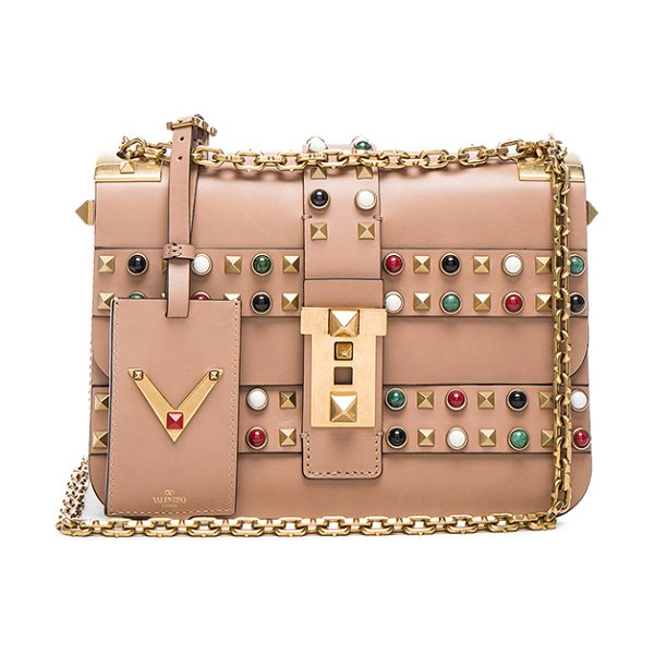 Valentino Rockstud Rolling Bag in neutrals - Genuine leather with raw lining and gold-tone hardware. ...