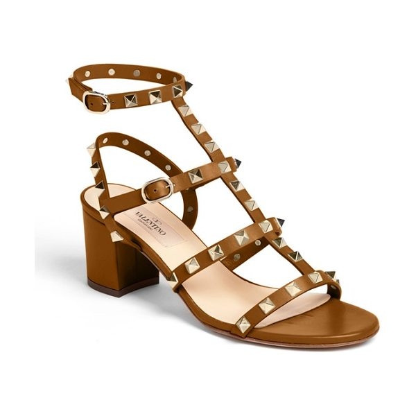 Valentino rockstud sandal in tan - Shining, signature pyramid studs amp the edge on a...