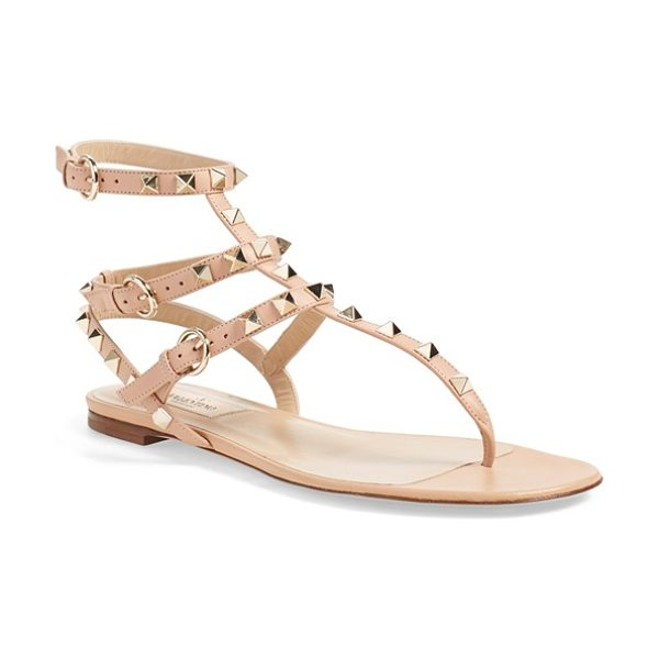 Valentino 'rockstud' sandal in beige leather