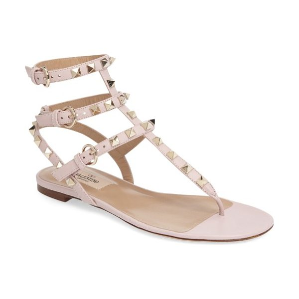 Valentino 'rockstud' sandal in light pink - Valentino's signature gilded pyramid studs add edgy...
