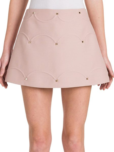 Valentino rockstud scalloped a-line skirt in wild rose - A-line mini skirt with rockstudded scalloped seams....