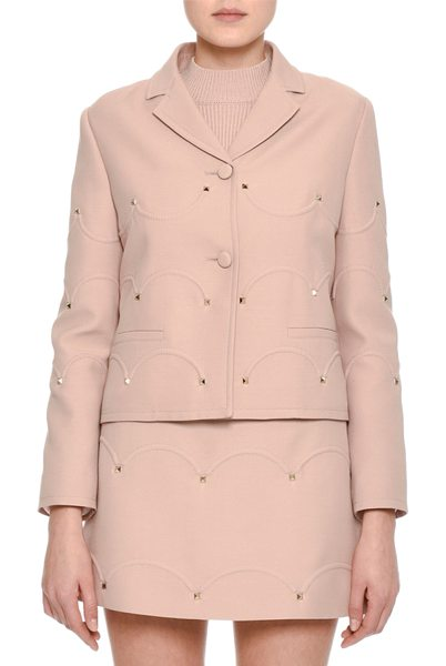 Valentino Rockstud Scalloped Crepe Jacket in blush - Valentino crepe jacket featuring three-dimensional...