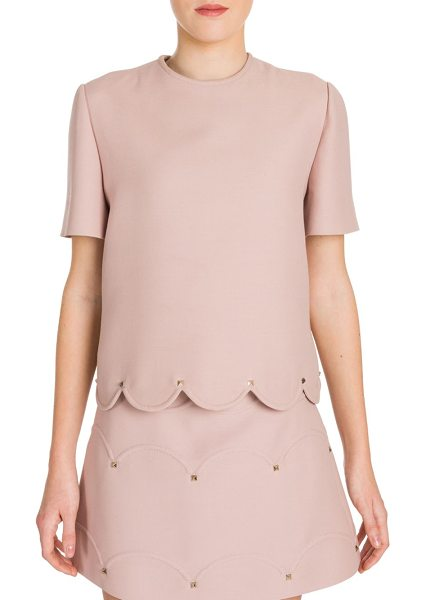 Valentino rockstud scalloped tee in wild rose - Studded stuctured tee with feminine scalloped hem....