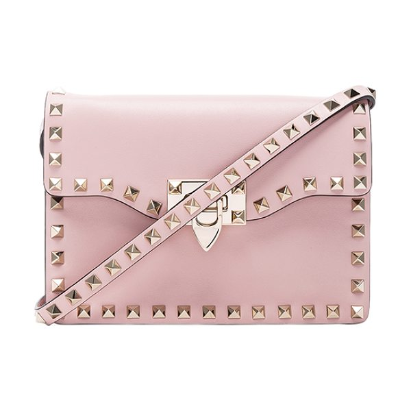 Valentino Small Rockstud Shoulder Bag in water rose - Genuine leather with twill lining and pale gold-tone...