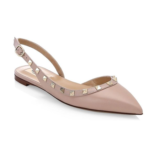 Valentino rockstud slingback ballerina flats in poudre - Iconic rockstuds adorn these lovely point toe flats....