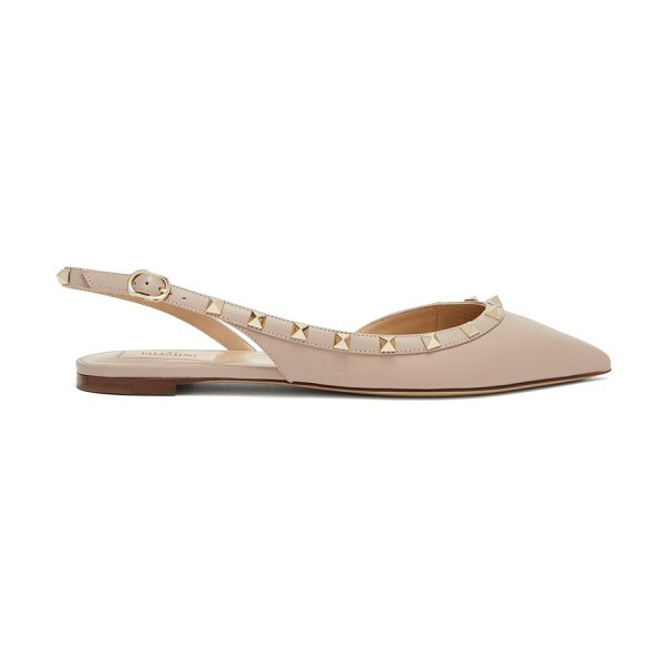 Valentino Rockstud Slingback Leather Flats in nude - Valentino - Imbue your work ensembles with Valentino's...