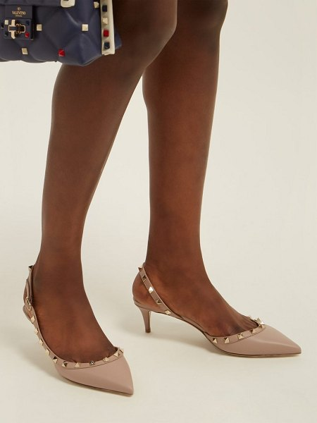 Valentino rockstud slingback leather pumps in nude