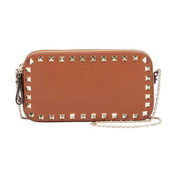 Valentino Rockstud Small Chain Shoulder Bag in tan