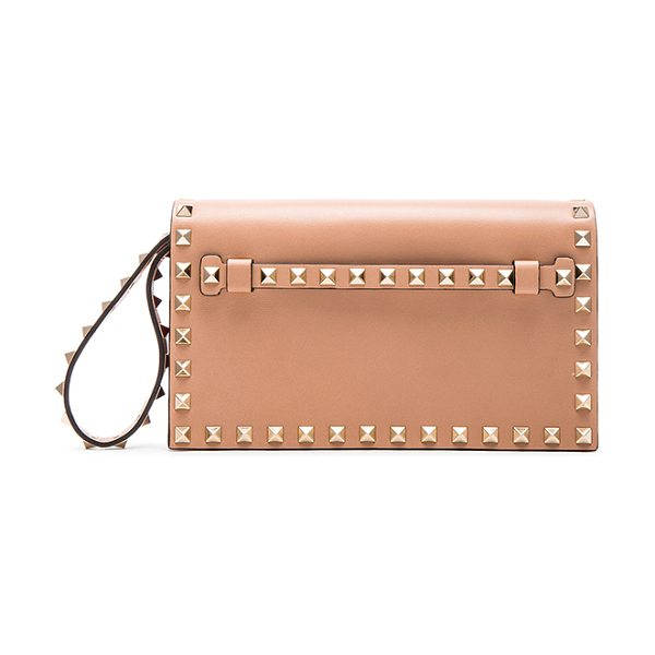 Valentino Rockstud small clutch in neutrals - Genuine leather with leather lining and pale gold-tone...