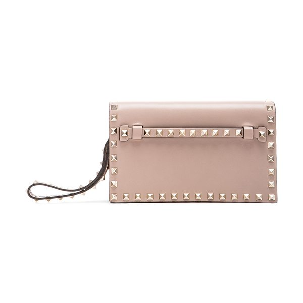 VALENTINO Rockstud small clutch - Genuine leather with leather lining and gold-tone...