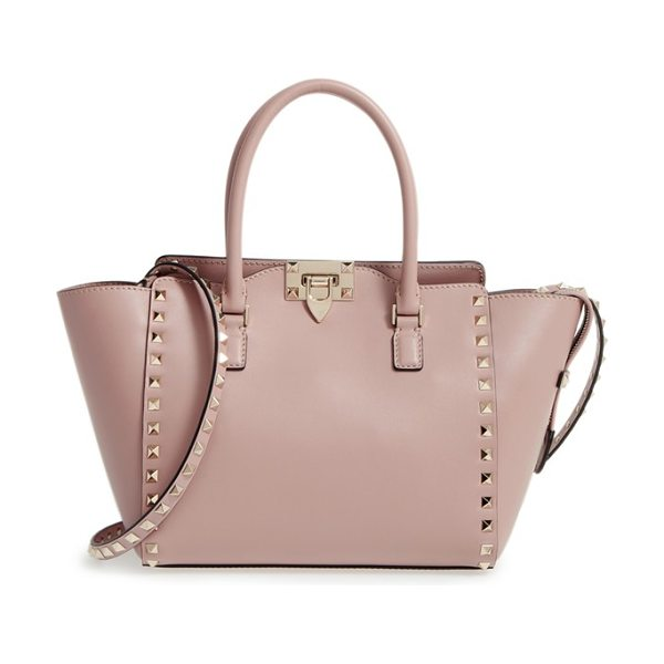 Valentino rockstud small double handle leather tote in coral - Sized just right for carrying essentials, the small...
