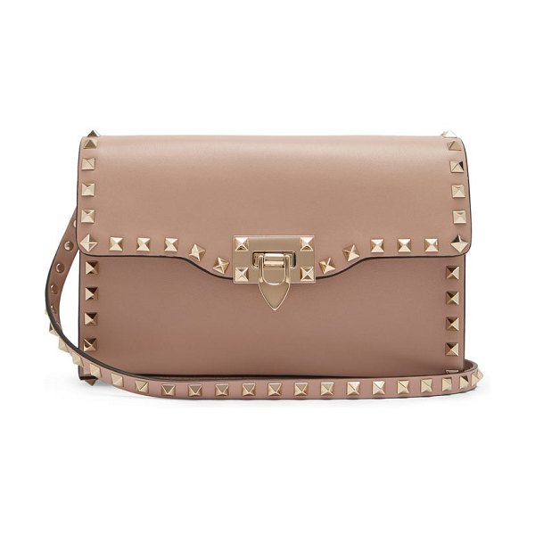 Valentino rockstud small leather cross-body bag in nude