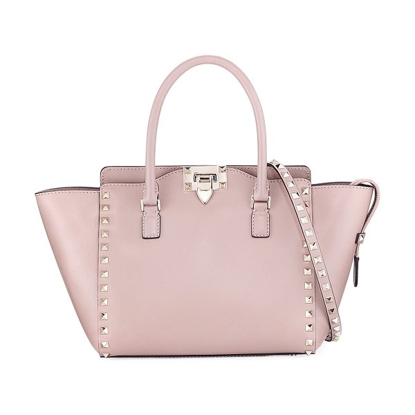 Valentino Rockstud Small Leather Shopper Tote Bag in light pink - Valentino Garavani calf leather shopper tote with...