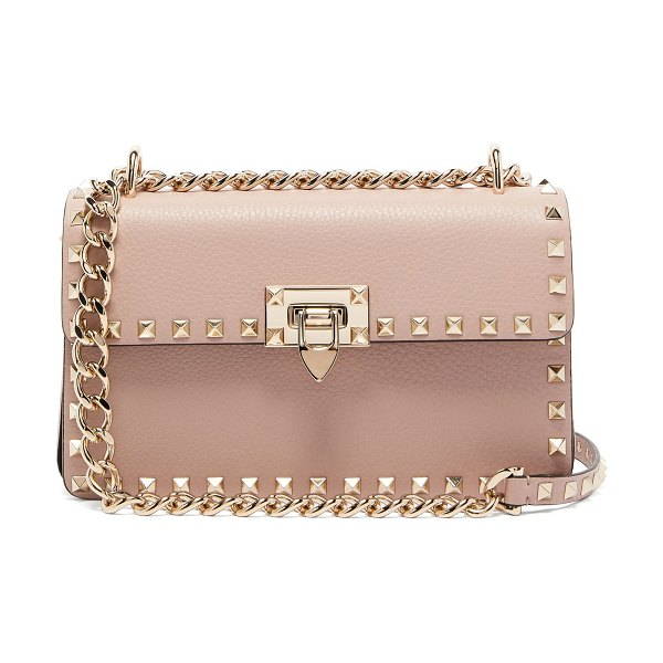Valentino Rockstud Small Leather Shoulder Bag in nude - Valentino - Light pink grained leather gives Valentino's...