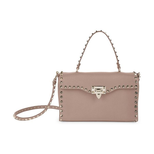 Valentino rockstud small leather top-handle bag in poudre - Wide leather flap silhouette traced by signature studs....