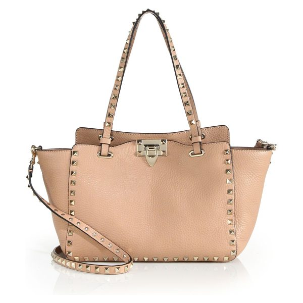 Valentino rockstud small leather tote in nude - Rich pebbled leather tote trimmed with iconic pyramid...