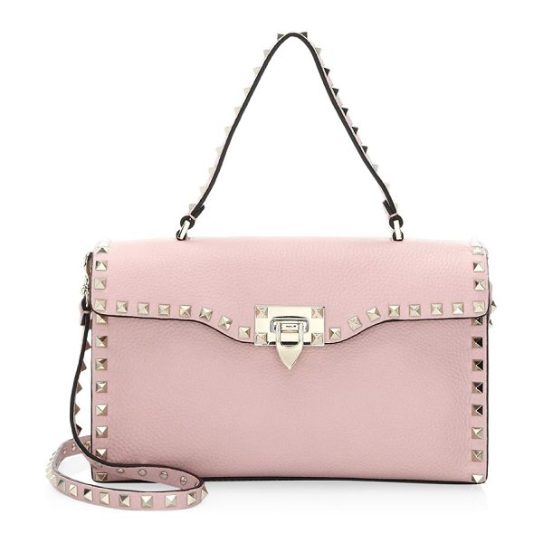 Valentino rockstud small leather shoulder bag in poudre