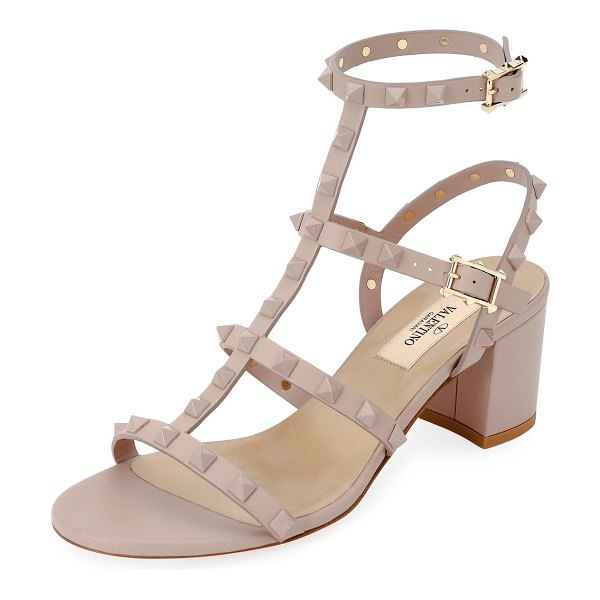 Valentino Rockstud Smooth Calf Sandals in poudre