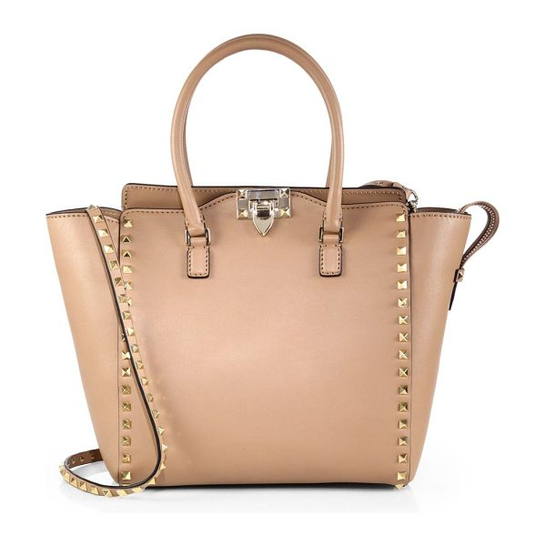 Valentino rockstud smooth leather new tote in taupe - A refined silhouette in super-smooth Vitello leather,...