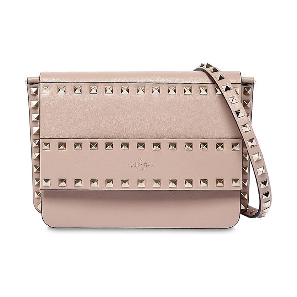 Valentino Rockstud smooth leather shoulder bag in poudre