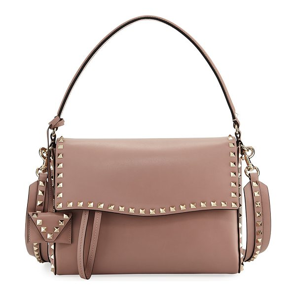 Valentino Rockstud Smooth Leather Top-Handle Bag in beige - Valentino Garavani smooth leather top handle bag with...