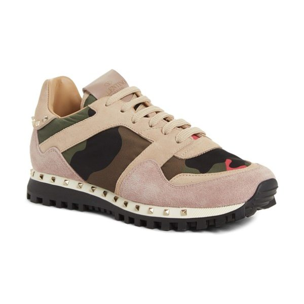 Valentino rockstud sneaker in pink/ army green - An unexpected mix of camo print, velvet and signature...