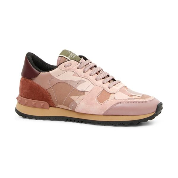 Valentino rockstud sneaker in poudre/ rose - An unexpected mix of camo print, velvet and signature...