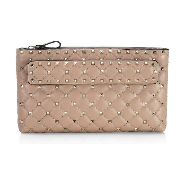 Valentino rockstud spike clutch in poudre - Lambskin clutch with allover studs and handle detail....