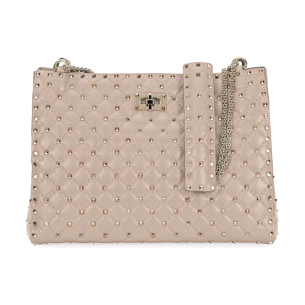 VALENTINO Rockstud Spike Crinkled Shoulder Bag in beige - Valentino Garavani quilted leather shoulder bag with...