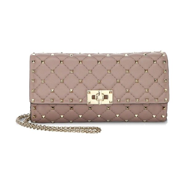 Valentino rockstud spike leather clutch in poudre - Classy clutch featuring removable chain strap....