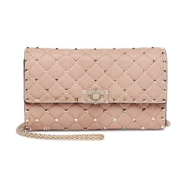 VALENTINO rockstud spike leather shoulder bag in poudre - Quilted leather shoulder bag with polished rockstuds....