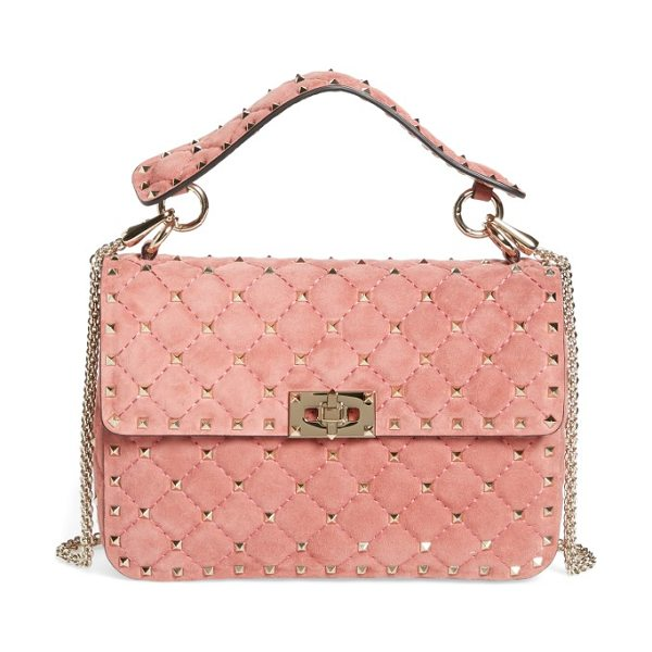 Valentino rockstud spike leather top handle crossbody bag in antico pink