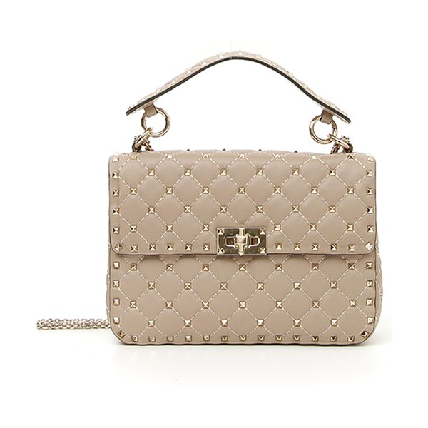 Valentino Rockstud Spike Medium Quilted Top-Handle Bag in beige