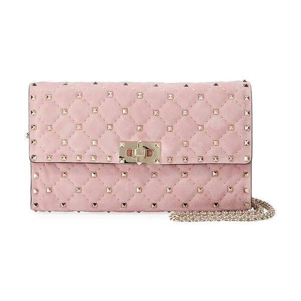 Valentino Rockstud Spike Quilted Suede Chain Shoulder Bag in light pink - Valentino Garavani shoulder bag in quilted suede....