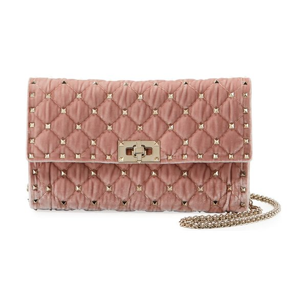 Valentino Rockstud Spike Quilted Velvet Wallet on Chain in light pink